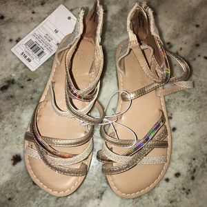 Toddler girl cami twopiece gladiator sandals gold